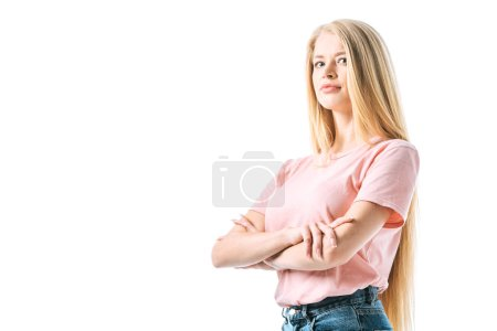 Photo pour Attractive woman standing with crossed arms isolated on white - image libre de droit