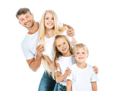 Photo for Positive family in white t-shirts isolated on white - Royalty Free Image