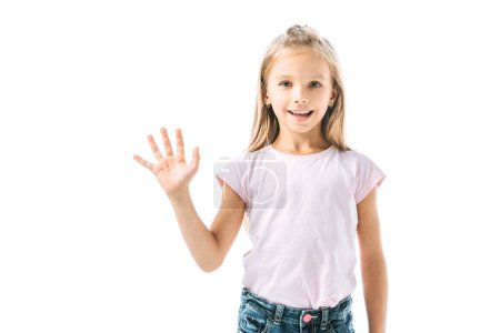 happy child waving hand and smiling isolated on white