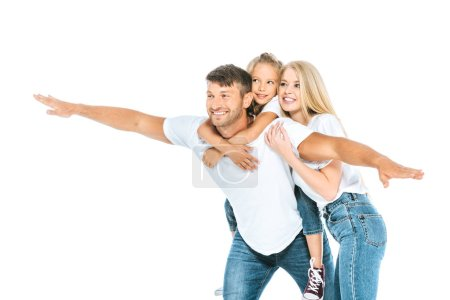 Photo for Happy father with outstretched hands near daughter and wife isolated on white - Royalty Free Image