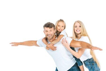 Photo pour Heureux père avec les mains tendues près de sa fille et belle femme isolée sur - image libre de droit