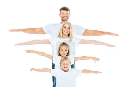Photo for Happy parents and kids with outstretched hands isolated on white - Royalty Free Image