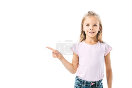 positive and cute kid pointing with finger isolated on white