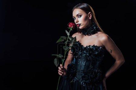 Photo pour Fille vampire effrayant en robe gothique noire tenant une rose rouge isolée sur noir - image libre de droit