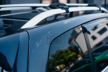 Photo for Top and side of black, modern polished car - Royalty Free Image