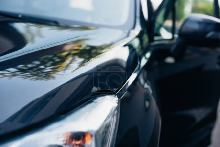 Photo for Selective focus of black, polished modern car front side - Royalty Free Image