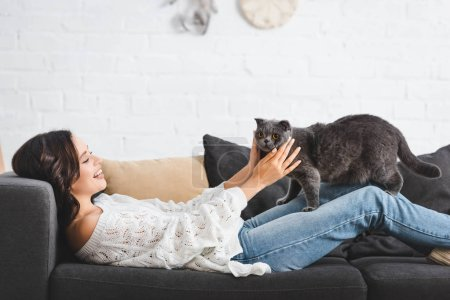 Photo pour Femme brune couchée sur le canapé avec chat écossais pliant dans le salon confortable - image libre de droit