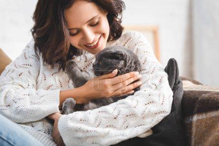 Photo pour Jolie femme souriante avec chat écossais gris pliant - image libre de droit