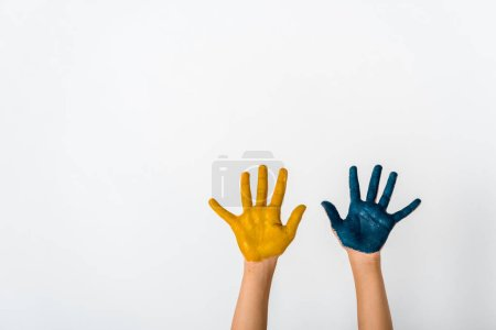Photo for Cropped view of child with blue and yellow paint on hands isolated on white - Royalty Free Image
