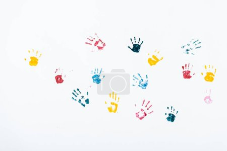 Photo for Multicolored and bright hand prints on white - Royalty Free Image