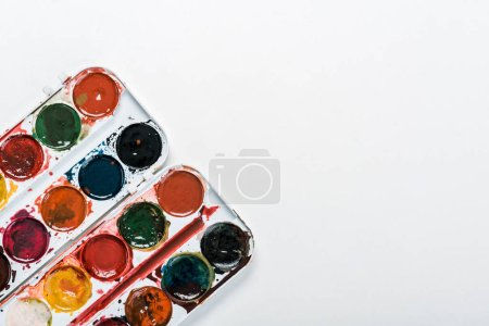 Photo for Top view of watercolor paint isolated on white - Royalty Free Image