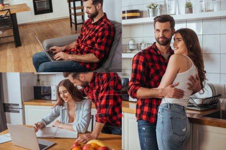 collage de feliz pareja abrazando en la cocina, hombre trabajando en el ordenador portátil y chica sonriente escribiendo en el cuaderno