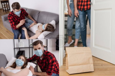 Photo for Collage of man caring of diseased girlfriend, and couple standing near paper bag with takeaway food near door - Royalty Free Image