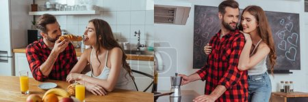 Photo for Collage of happy young couple making coffee in geyser coffee maker and having breakfast in kitchen, horizontal image - Royalty Free Image