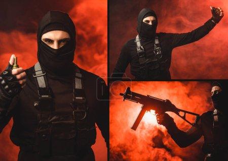 Foto de Collage de terroristas musulmanes sosteniendo ametralladora y granada sobre fondo negro con humo rojo - Imagen libre de derechos