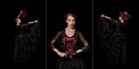 Photo pour Collage d'attrayant danseur de flamenco tenant les éventails et dansant isolé sur noir - image libre de droit