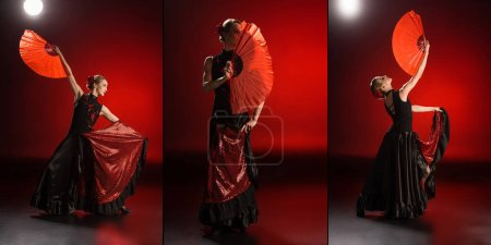 Photo for Collage of elegant flamenco dancer touching dresses and holding fans while dancing on red - Royalty Free Image