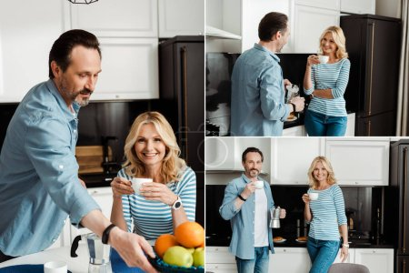 Collage of smiling mature couple drinking coffee in kitchen