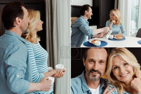 Photo pour Collage de couple d'âge mûr buvant du café pendant le petit déjeuner dans la cuisine - image libre de droit