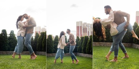 Photo for Collage of couple dancing on grass outside - Royalty Free Image