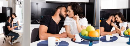 Photo for Collage of young woman and handsome boyfriend near cups and tasty breakfast - Royalty Free Image