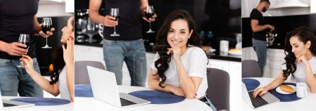 Photo for Collage of happy freelancer near boyfriend with wine glasses in kitchen - Royalty Free Image
