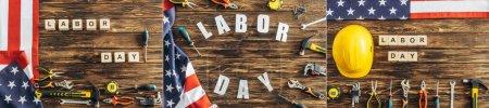 Foto de Collage de herramientas, casco de seguridad y banderas americanas cerca de cubos con letras de día de trabajo en superficie de madera - Imagen libre de derechos