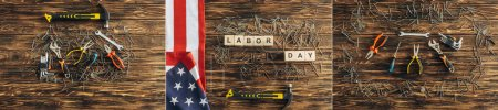 collage of top view of interments, american flag and metallic nails near cubes with labor day lettering on wooden surface