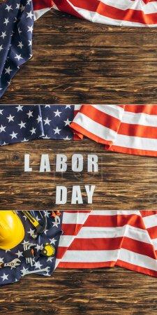 Photo pour Collage du casque de sécurité et des instruments près du lettrage de la fête du travail et des drapeaux américains sur la surface en bois - image libre de droit