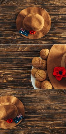 Photo for Collage of artificial flowers, felt hats and australian flags on wooden surface, anzac day concept - Royalty Free Image