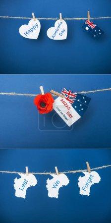 Photo pour Collage de cordes, pinces à linge et carte avec anzas jour lettrage près de fleur artificielle, drapeaux d'Australie et papiers en forme de coeur sur bleu - image libre de droit