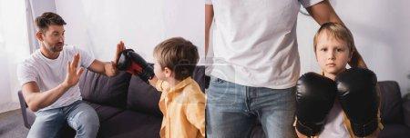 Photo pour Collage de père touchant épaule de fils portant des gants de boxe et se battant avec lui sur le canapé, image horizontale - image libre de droit