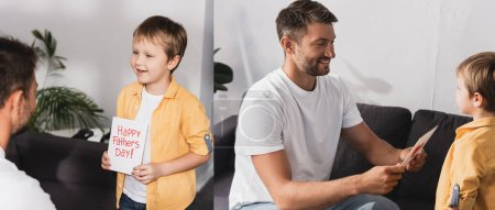 Photo for Collage of adorable boy presenting happy fathers day greeting card to father - Royalty Free Image