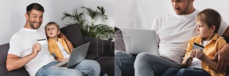 Photo for Collage of father and son sitting on sofa with laptop and credit card, panoramic crop - Royalty Free Image