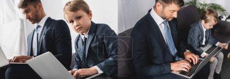 Photo pour Collage de l'homme d'affaires et son fils dans l'usure formelle à l'aide d'ordinateurs portables à la maison, image horizontale - image libre de droit