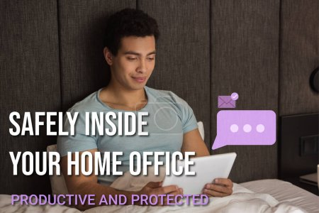 handsome mixed race man using digital tablet near safely inside your home office, productive and protected lettering in bedroom