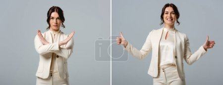 Photo for Collage of smiling and serious businesswoman showing stop and thumbs up gestures isolated on grey - Royalty Free Image
