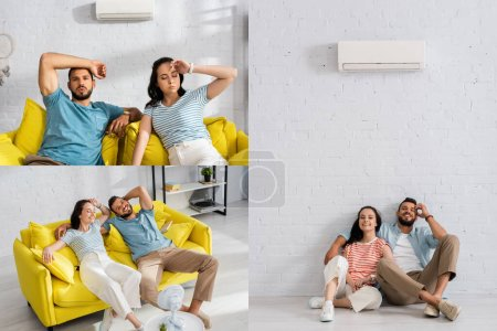 Collage of young couple suffering from heat and smiling on floor under air conditioner and electric fan at home