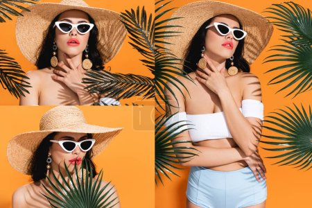 collage of fashionable woman in swimwear, sunglasses and straw hat near palm leaves on orange