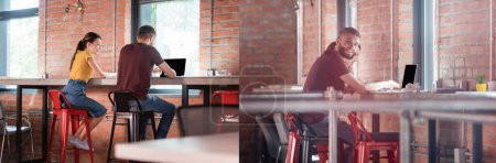 collage of happy businesswoman looking at coworker using laptop with blank screen in office