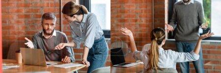 collage de hombre de negocios y atractiva mujer de negocios gesto cerca de la computadora portátil