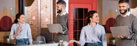 collage of happy businesswoman gesturing near bearded man with laptop in office
