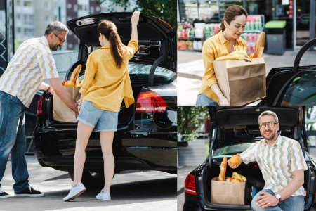 Collage of smiling couple putting shopping bag with food in car trunk on urban street