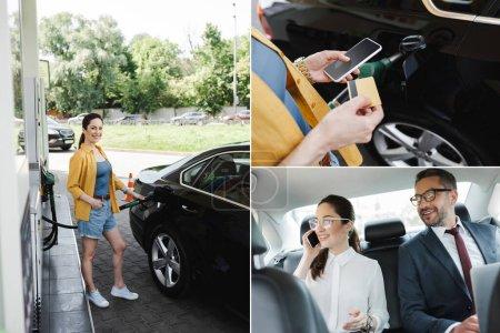 Kolaż uśmiechniętej kobiety z kartą kredytową i smartfonem na stacji benzynowej oraz biznesmenki i biznesmenki korzystającej z gadżetów w samochodzie