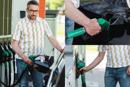 Photo pour Collage de bel homme tenant buse de ravitaillement et voiture de ravitaillement en carburant à l'extérieur - image libre de droit