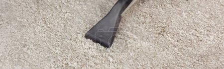 Photo for Panoramic crop of brush of vacuum cleaner on carpet at home - Royalty Free Image