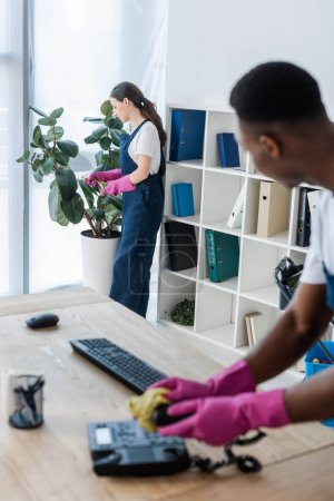 Photo for Selective focus of cleaner spraying plant near african american colleague cleaning telephone in office - Royalty Free Image