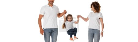 Photo for Panoramic concept of happy parents holding hands of cute daughter jumping isolated on white - Royalty Free Image
