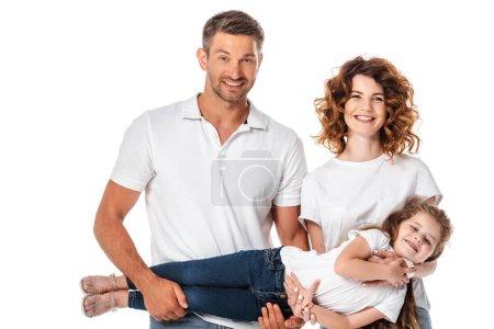 Photo pour Heureux mère et père tenant dans les bras jolie fille isolée sur blanc - image libre de droit