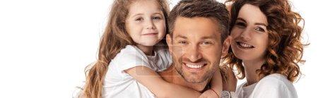 Photo pour Concept panoramique de famille joyeuse souriant isolé sur blanc - image libre de droit